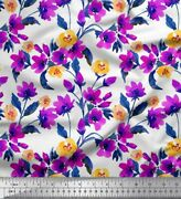 Soimoi Cotton Poplin Fabric Flower And Leaves Watercolor Print Sewing-ar1