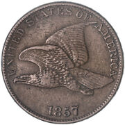 1857 Flying Eagle Cent Extra Fine Penny Xf Rim Damage See Pics H108