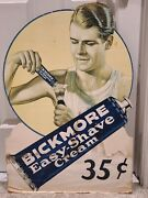 1930's Bickmore Easy-shave Cream Large Cardboard Store Display Advertising Sign