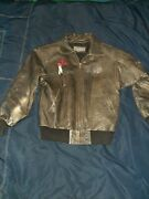 Womens S Brown Motorcycle Wilsons Leather Biker Jacket Harley Patches Front Back