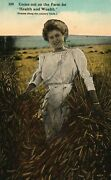 Vintage Postcard 1912 Come Out On The Farm Health And Wealth Woman In Wheat Field