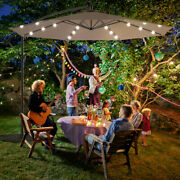 Gymax 10ft Patio Solar Led Outdoor Offset Hanging Umbrella W/ 24 Lights