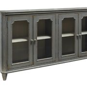 Saltoro Sherpi 4 Door Cabinet With Glass Inserts And Rustic Details, Antique