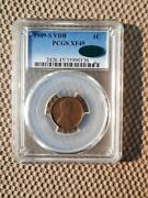 1909 S Vdb Lincoln Wheat Cent Pcgs Xf45 Cac