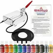 U.s. Cake Supply - Complete Cake Decorating Airbrush Kit With A Full Selection O