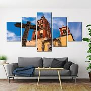 5 Panel Framed Cross Church Religion Canvas Picture Wall Art Hd Print Decor