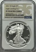2021 W 1 T-2 Ngc Pf70 Ultra Cameo Proof Silver Eagle Landing Great Eye Appeal