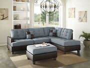 Sectional Sofa Pillows Reversible Chaise Ottoman Linen Fabric Grey Couch