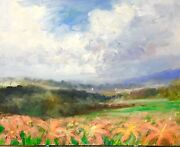 16 X 20 Askart Listed Artist Nino Pippa Orig Painting Provence Coral Lily Field