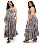 New Torrid 2 2x, 18/20 Grey Super Soft Floral Strappy Maxi Vacation Dress