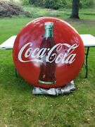 Original 1950and039s Porcelain Coca-cola 4 Foot With Bottle Country Store