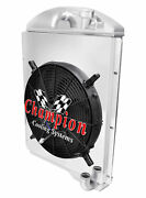 3 Row Wr Champion Radiator W/ 16 Fan And Shroud For 1941 - 1946 Chevy Pickup