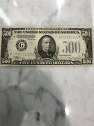 1934 500 Bill High Quality Federal Reserve Five Hundred Dollars Chicago Note