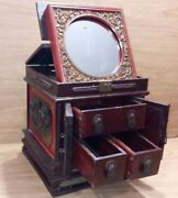 Antique Vintage Chinese Folding Mirror Wooden Jewelry Travel Box Case W/drawers