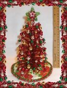 New 112 8 Lighted Red Tinsel Christmas Tree Dollhouse Miniatures +ornaments-