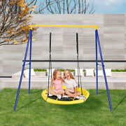 """Extra Large Heavy Duty A-frame Steel Swing Stand Set 40"""" Nest Tree Swing Yellow"""