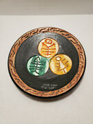 Hand Made Taino Art Plate Dominican Republic Hand Painted Traditional