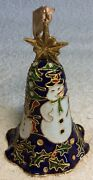 Christmas Ornament Cloisonne Vintage Bell Snowman And Winter Scene 4.5 Tall