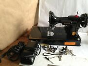 Vintage Singer Featherweight Portable Sewing Machine W/case, Manual, Extras 1945