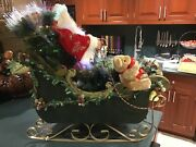 Large Santa In Sleigh With Bear, Gift, Pinecones With Fiber Optic Lighting