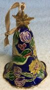 Cloisonne Ornament Vintage Bell Hummingbird And Flowers 4.5 Tall
