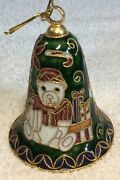 """Christmas Ornament Cloisonne Vintage Bell Bears With Gifts 3.25"""" Tall"""