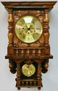 Beautiful Vintage 8 Day Triple Chime Carved Oak Musical Free Swinger Wall Clock