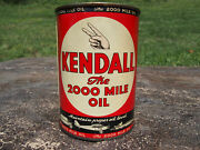 Vintage 1940and039s Kendall Motor Oil Can The 2000 Mile Oil Metal Can Full Nos