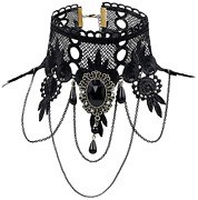 Halloween Costumes Jewelry For Women - Black Lace Choker Necklace Gothic