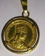 Antique Tigranes 2nd King Of Armenia Pure Gold Medal Pendant 金 章