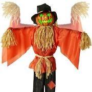 Animated Pumpkin Scarecrow Halloween Decor Spooky Led Sound Motion Activated