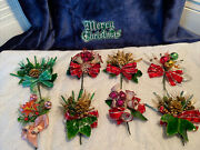 Lot Of 8 Of Vintage Mercury Balls Christmas Corsage Leaves Pinecone Bell