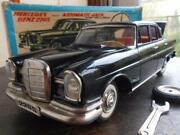Masterpiece Super Rare Vertical Eye Benz 220s S.s.s. Large Tinplate Toy With Box