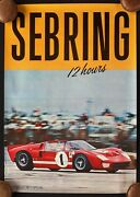 1966 12 Hours Sebring Poster Ford Gt40 Mk Ii X-1 Special Miles Ruby Shelby