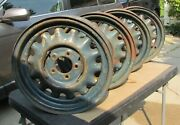 Four Artillery Wheels 16 X 4 1/4 Bead 5 On 4 1/2 Pattern 1936 Dodge Others.