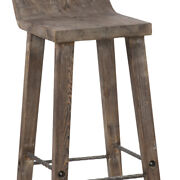 Saltoro Sherpi Wooden Bar Height Stool With Low Back And Iron Footrest, Brown