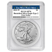 Presale - 2021-w Burnished 1 Type 2 American Silver Eagle Pcgs Sp70 Fs West Poi