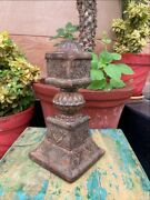 17 C Antique Old Woo Hand Carved Floral Painted Bed Leg Carpet Pillar Stand