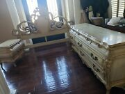 Vtg 3 Piece French Provincial Bedroom Set Carved Rococo King Headboard