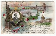 1901 William Mckinley Inauguration Prosperity Color Multiview Postcard Used