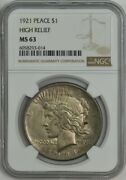 1921 Silver Peace Dollar High Relief Ms63 Ngc 944548-7