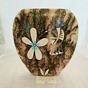 10 3/4 H - Tom Vail Horsehair Vase Hummingbird And Turquoise Accents.