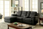 Sectional W Console Living Room Reclining Plush Chenille Gray Cup Holder Couch