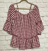 Small/medium/large New Red White Gingham Check Peasant Top Blouse Shirt