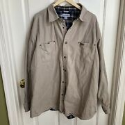Canvas Shirt Jacket 3xl Mens Flannel Lined Snap Front Workwear Chore