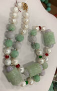 Antique Lavender And Apple Jade Dragon Necklace Estate Jewelry Lot Jewelry Vtg