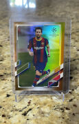 Lionel Messi 2021 Topps Chrome Uefa Champions League Gold Refractor Sp /50 🔥