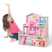Large Wooden Dollhouse Doll House Pink Children Kids Pretend Play W/ 8 Furniture
