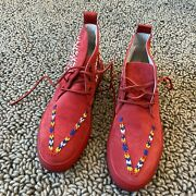 Rare Del Toro Chukka Hand Beaded Red Suede Size 13 Made In Italy Desert Boot