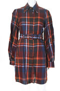 Petersyn Womens Plaid Belted Adele Dress Gotham Multi Colored Cotton Size Small